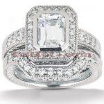 Diamond Platinum Engagement Ring Setting Set 0.62ct