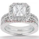 Diamond Platinum Engagement Ring Setting Set 0.82ct