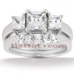 Diamond Platinum Engagement Ring Setting Set 1.24ct