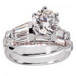 Diamond Platinum Engagement Ring Setting Set 1.62ct