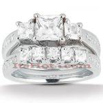 Diamond Platinum Engagement Ring Setting Set 1.74ct