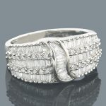 Diamond Rings 14K Round Baguette Diamond Band 1.22ct