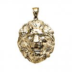 Diamond Roaring Lion Pendant Necklace in 9ct Gold