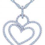 Diamond Valentine Double Heart Pendant Necklace in 9ct White Gold