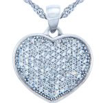 Diamond Valentine Heart Paved Pendant Necklace in 9ct White Gold