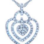 Diamond Valentine Triple Heart Pendant Necklace in 9ct White Gold