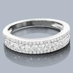Thin Diamond Wedding Bands: 14K Designer Ring 0.78ct