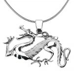 Dragon Pendant Necklace in Sterling Silver