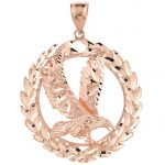 Eagle Wreath Charm Pendant Necklace in 9ct Rose Gold