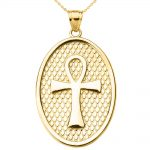 Egyptian Oval Cross Pendant Necklace in 9ct Gold