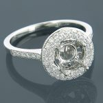 Halo Engagement Ring Settings 18K Diamond Ring Setting .59ct