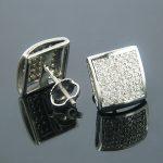 Gold Diamond Stud Earrings Pave Round Diam 0.38ct