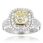 Halo Natural Yellow Cushion Cut Diamond Engagement Ring 4ct 18K White Gold