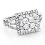 Halo Square Diamond Engagement Ring 14K Gold Ladies Cluster Ring 1.7ct