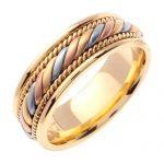 Hand Braided Multi-Tone Wedding Ring in 9ct Three-Tone Gold