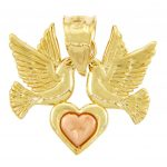 Heart Lovebirds Pendant Necklace in 9ct Two-Tone Gold