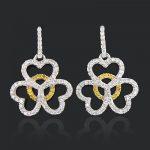 Heart Shaped Diamond Dangle Earrings 0.50ct 14K Gold