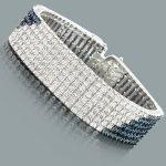 Hip Hop Jewelry: White Blue Diamond Bracelet for Men 1.23ct Silver
