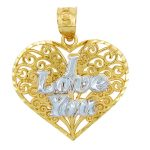 I Love You Heart Pendant Necklace in 9ct Two-Tone Gold