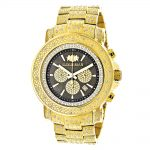 Iced Out Mens Diamond Watch Luxurman 2ct Yellow Gold Plated