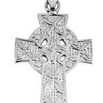 Irish Cross Pendant Necklace in 9ct White Gold