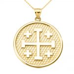 Jerusalem Cross Pendant Necklace in 9ct Gold