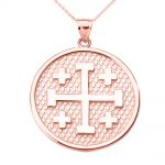 Jerusalem Cross Pendant Necklace in 9ct Rose Gold