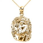 Jesus Face Pendant Necklace in 9ct Gold