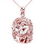 Jesus Face Pendant Necklace in 9ct Rose Gold