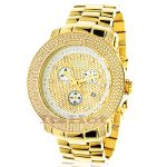Joe Rodeo Junior Mens Diamond Watch 3.3ct Yellow Gold Plated