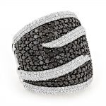 Ladies Black and White Diamond Cocktail Ring 4ct 14K