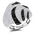 Ladies Black and White Diamond Fashion Ring 2.5ct 14K