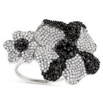 Ladies Black and White Diamond Flower Ring 2.5ct 14K