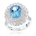 Ladies Diamond Cocktail Rings: Blue Topaz Engagement Ring 2.2ct 14K Gold