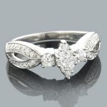 Ladies Diamond Rings 14K Cluster Diamond Ring 0.89ct