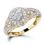 Ladies Diamond Rings 14K Cluster Diamond Ring 1.0 ct