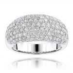 Ladies Diamond Rings: 14K Gold Pave Round Diamonds Band 2.75ct G/VS