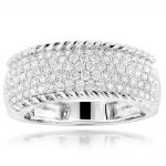 Ladies Pave Diamond Band 1.12ct 10K Gold