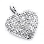 Ladies Pendants: 10K Gold Diamond Heart Pendant 0.12ct
