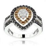 Ladies White Brown Black Diamond Ring 1.11ct 14K Gold