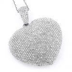 Large 14K Gold Fully Paved Puffed Diamond Heart Pendant Necklace 3.75ct