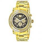 Large Diamond Bezel Watch 2.5ct Luxurman Escalade Yellow Gold Plated