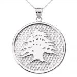 Lebanese Cedar Tree Charm Pendant Necklace in 9ct White Gold