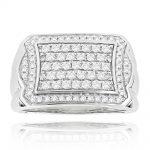 Luxurman 14K Gold Diamond Ring For Men Pave Diamonds 1ct