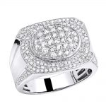 Luxurman Mens Diamond Ring in Solid 10k Gold 1.5ct