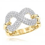 Luxurman Womens Diamond Infinity Cocktail Ring 14K Gold 1 Carat