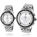 Matching His and Hers Watches: Centorum Diamond Watch Set 1ct Chronograph