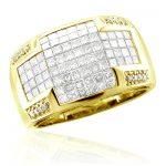 Mens 14K Gold Invisible Set Princess Cut Ring 3 Carats