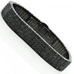 Mens Black Diamond Bracelet 18.70ct Stainless Steel Jewelry