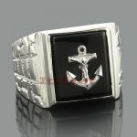 Mens Black Onyx Rings 14K Gold Mens Nautical Anchor Ring